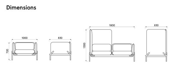 Dimensions Cast – assises modulables