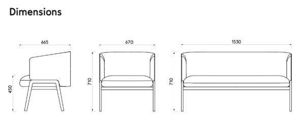 Dimensions KIM – assise élégante et confortable